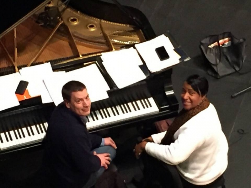Getting ready with pianist, Paul Johnston for the hit @ Eastern Illinois University