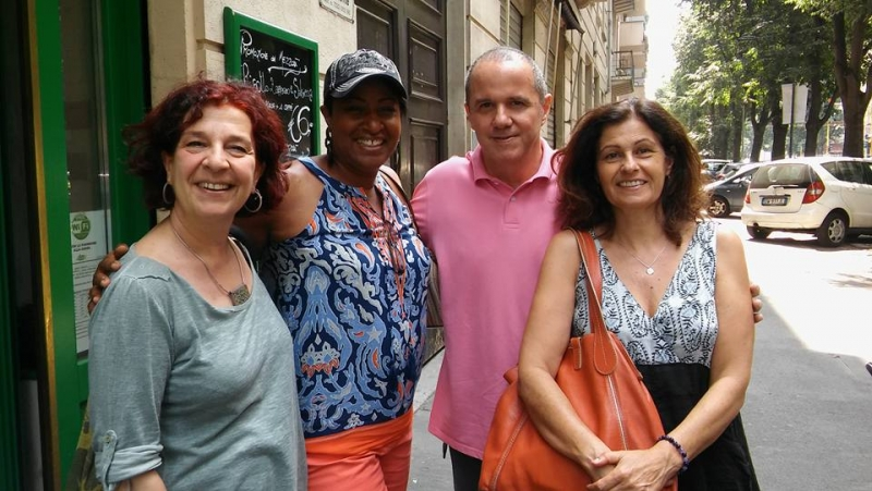 Lunching in Milan with the Director of Civica Scuola di Musica di Milano and his lovely staff