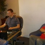 Cecil and Matt at the mastering session. Matt is awesome! Big ears!