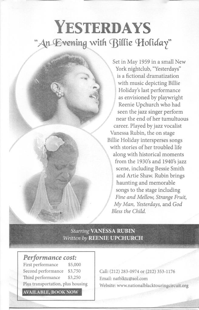 Yesterdays An Evening With Billie Holiday Price Sheet